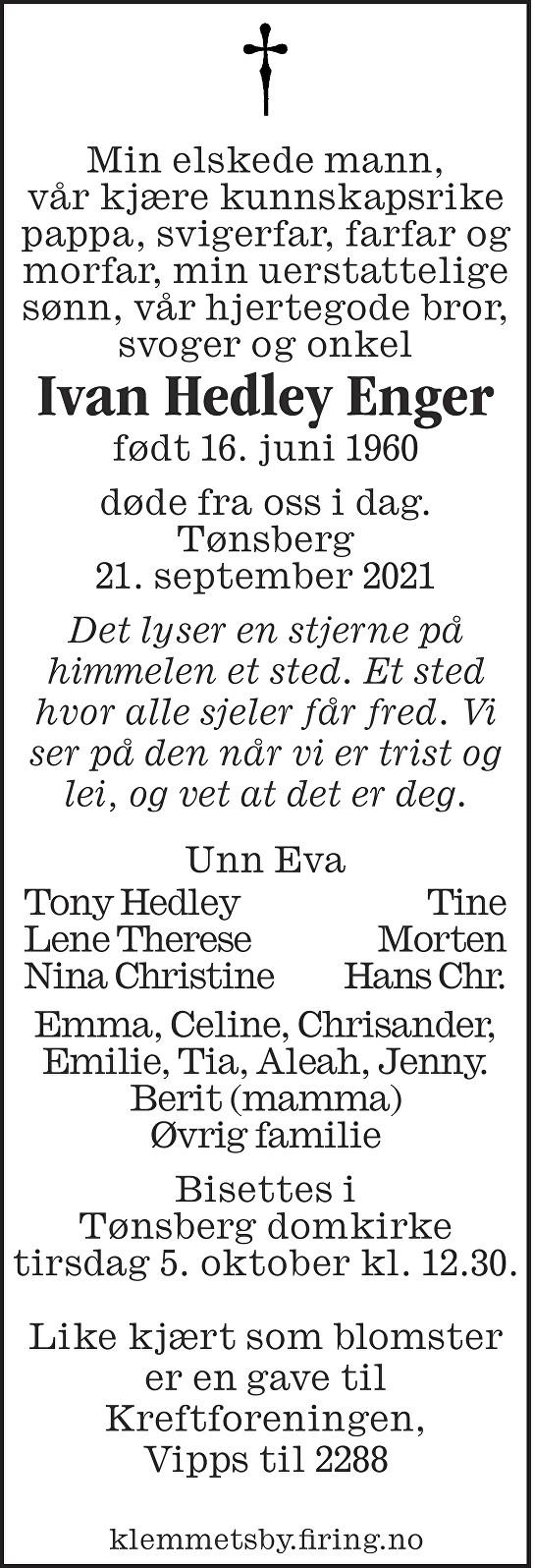 Ivan Hedley Enger Dødsannonse