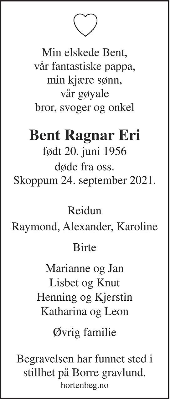 Bent Ragnar Eri Dødsannonse