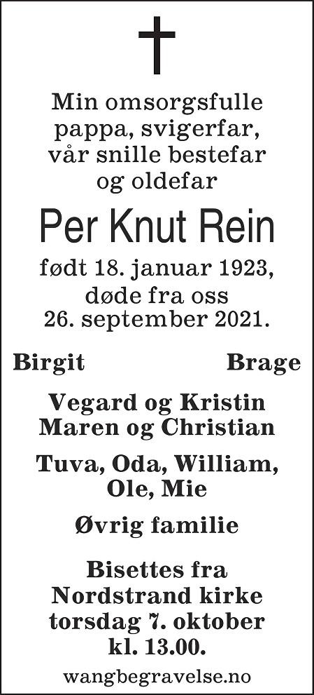 Per Knut Rein Dødsannonse