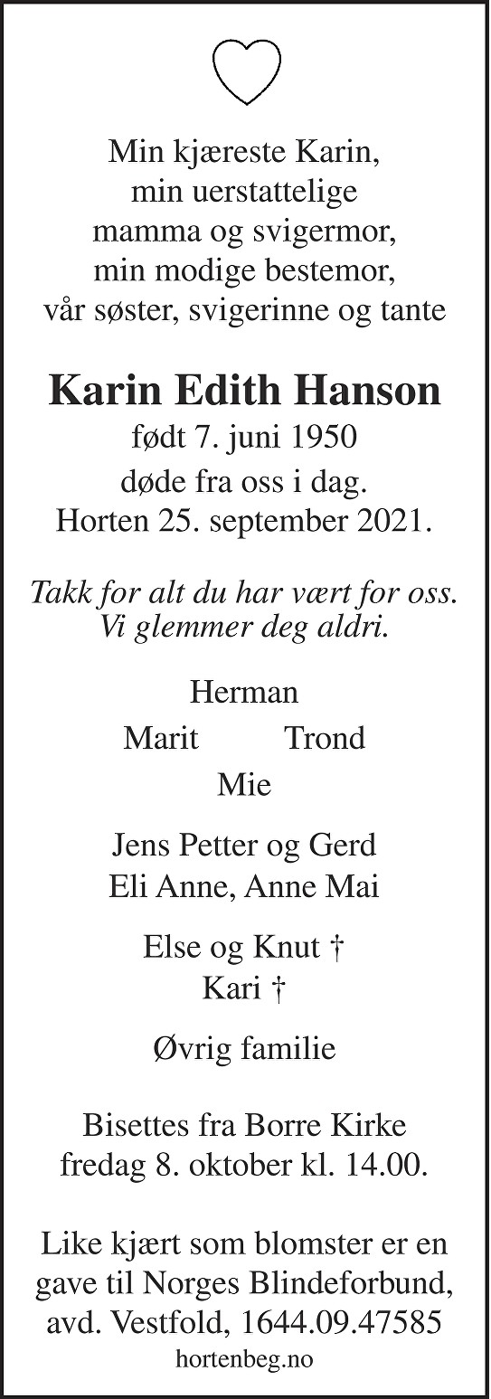 Karin Edith Hanson Dødsannonse