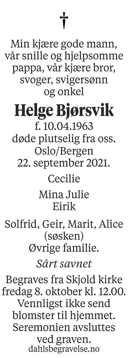 Helge Bjørsvik Dødsannonse