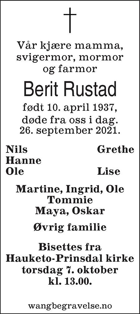 Berit Rustad Dødsannonse