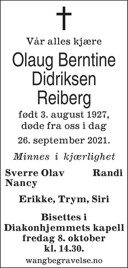 Olaug Berntine Reiberg Dødsannonse