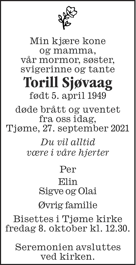 Torill Sjøvaag Dødsannonse