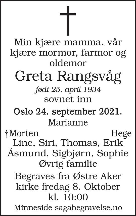 Greta Rangsvåg Dødsannonse