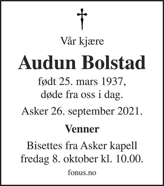 Audun Bolstad Dødsannonse