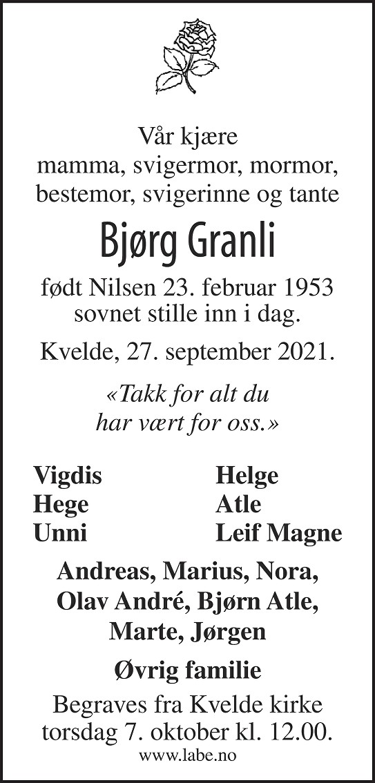 Bjørg Granli Dødsannonse