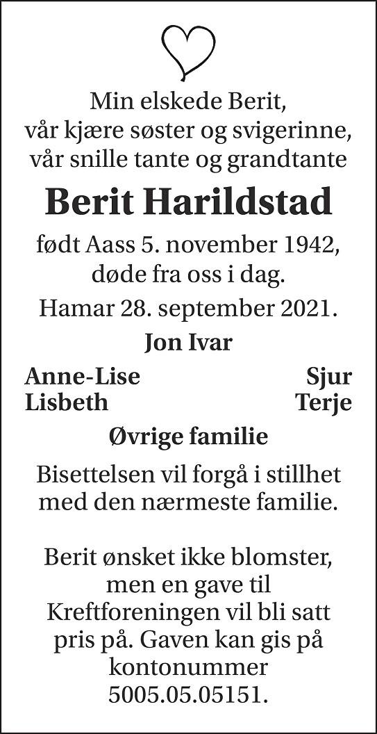 Berit Harildstad Dødsannonse