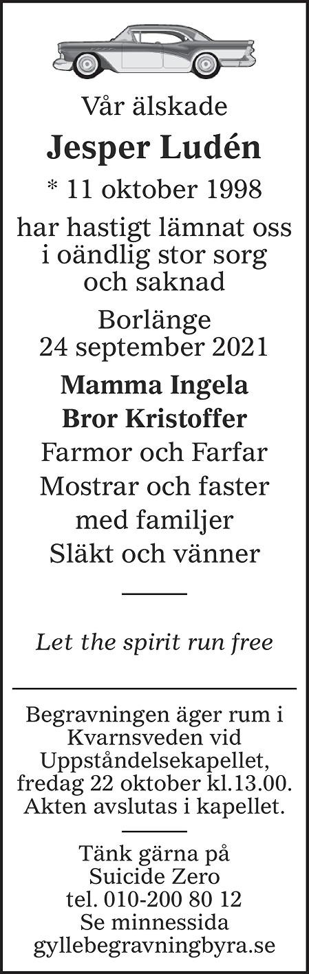 Jesper Ludén Death notice