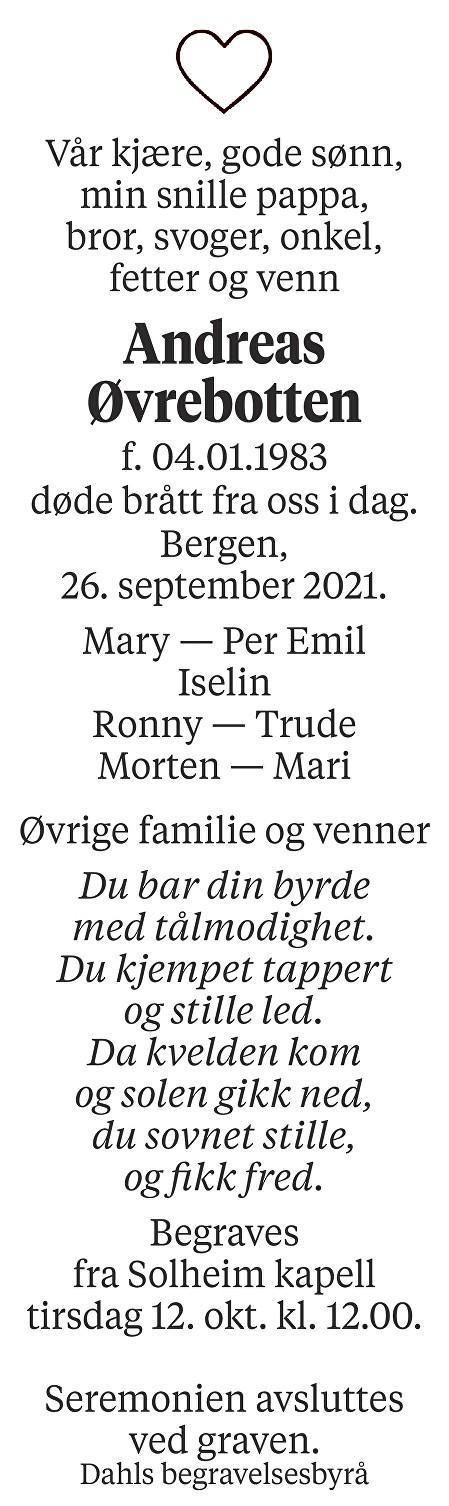 Andreas Øvrebotten Dødsannonse