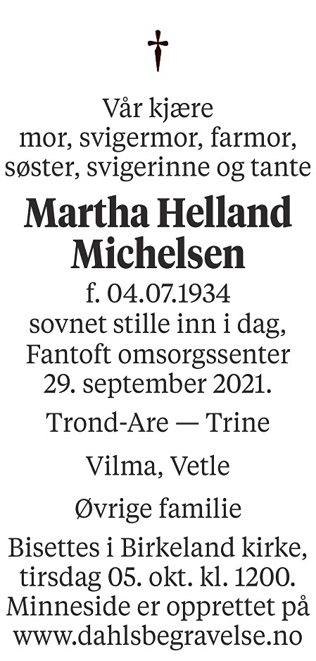 Martha Helland Michelsen Dødsannonse