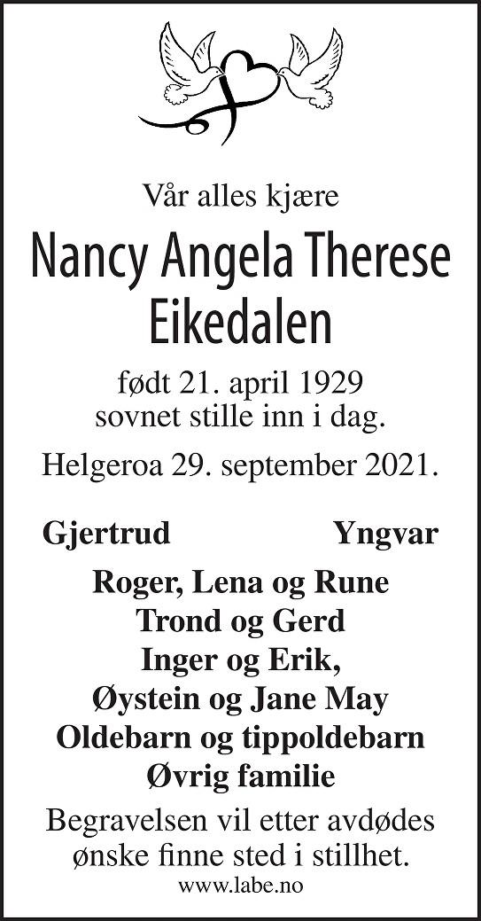 Nancy Angela Therese Eikedalen Dødsannonse