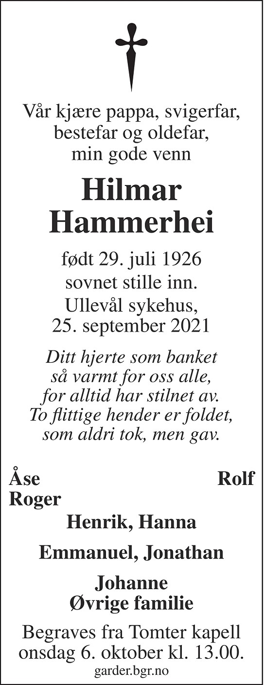 Hilmar Hammerhei Dødsannonse