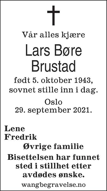 Lars Børe Brustad Dødsannonse