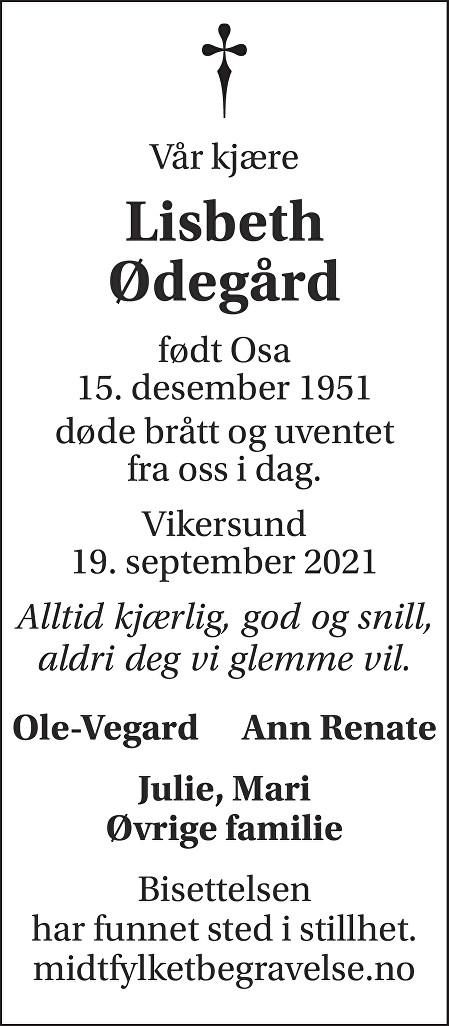 Lisbeth Ødegård Dødsannonse