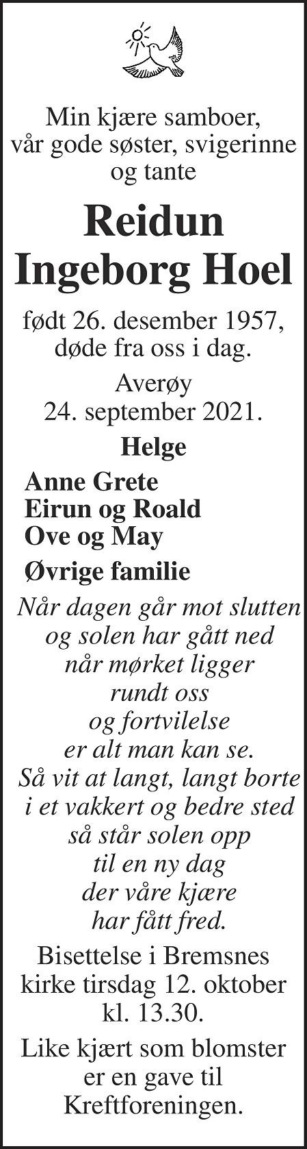 Reidun Ingeborg Hoel Dødsannonse