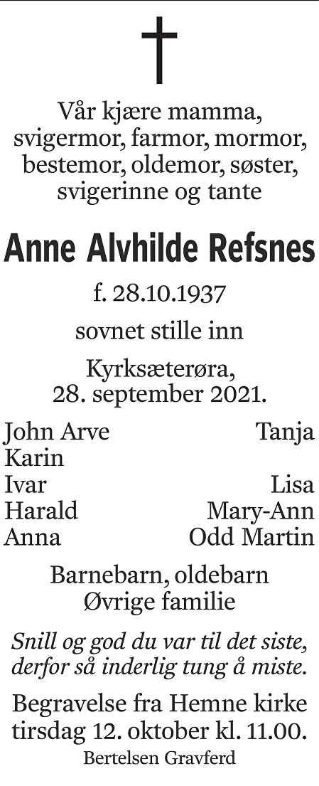 Anne Alvhilde Refsnes Dødsannonse