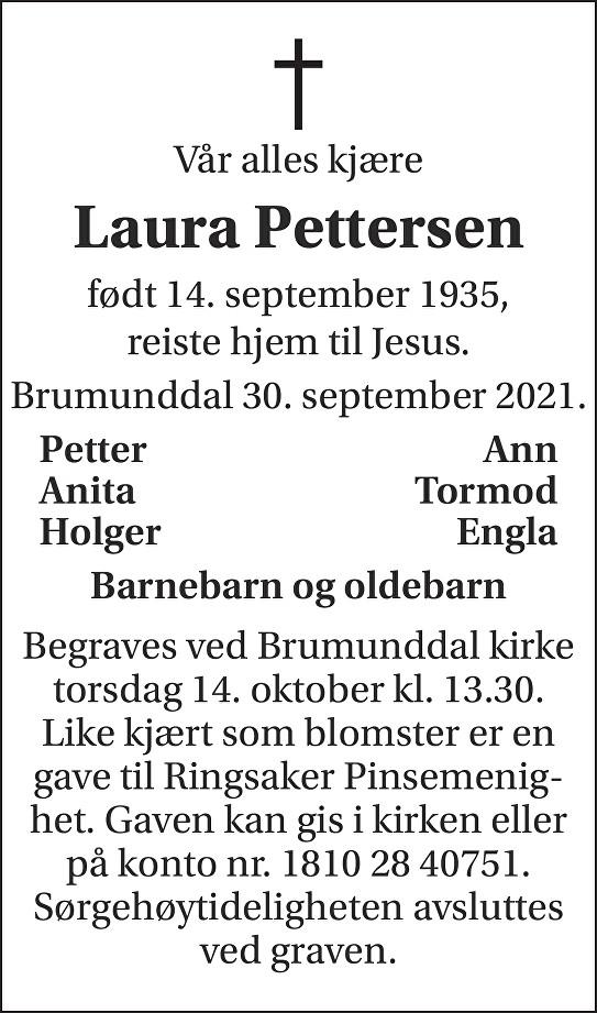 Laura  Pettersen  Dødsannonse