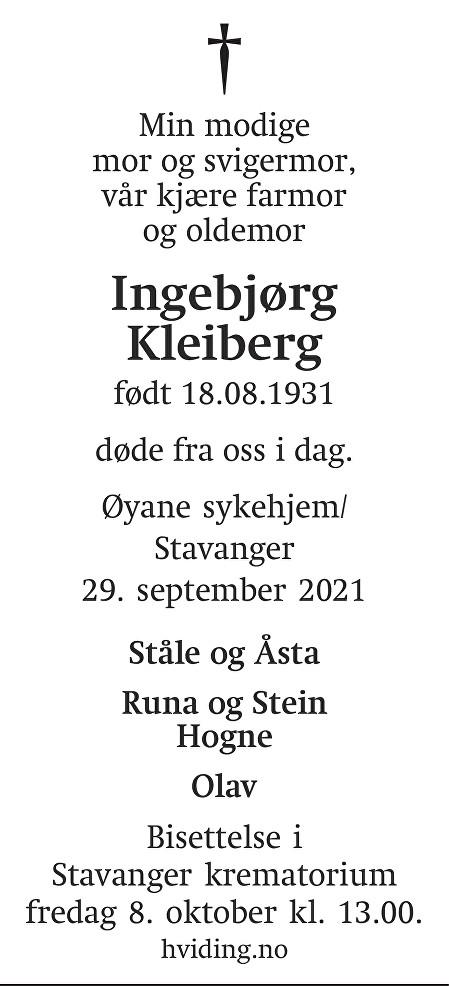 Ingebjørg Kleiberg Dødsannonse