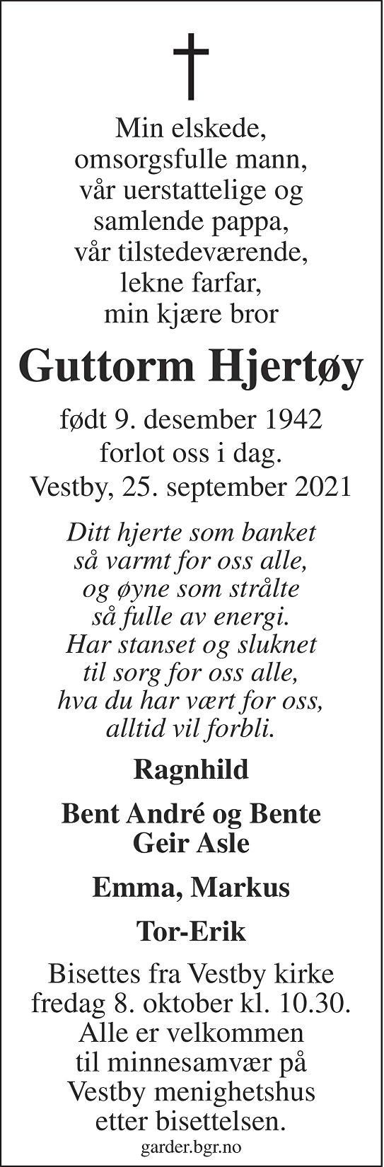 Guttorm Hjertøy Dødsannonse