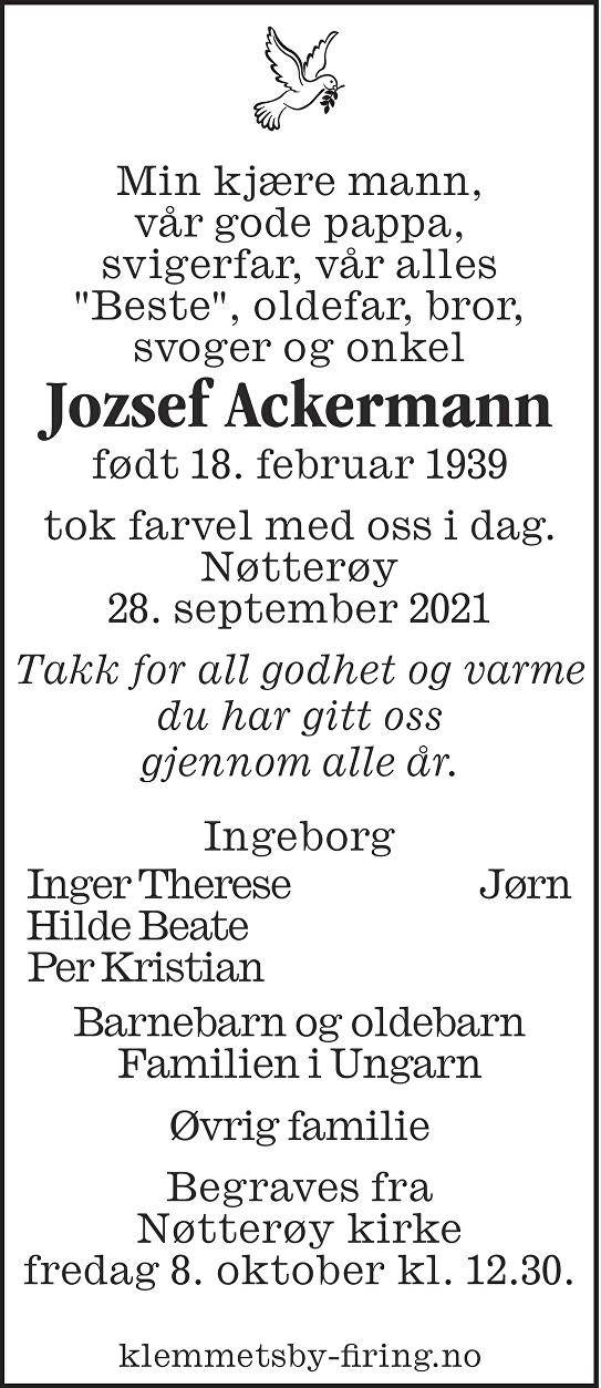 Jozsef Ackermann Dødsannonse