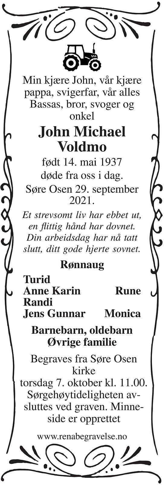 John Michael Voldmo Dødsannonse