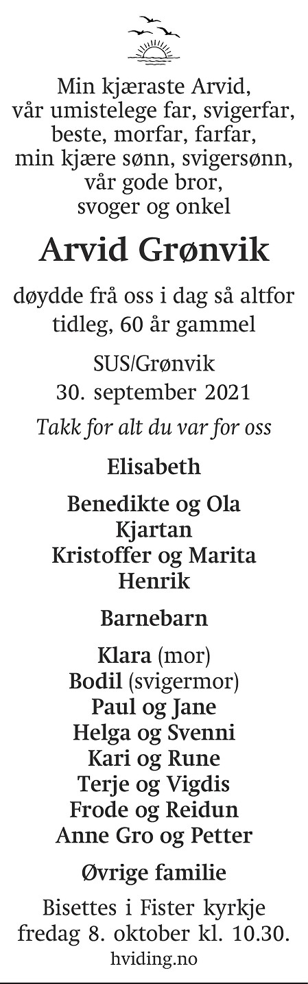 Arvid Grønvik Dødsannonse