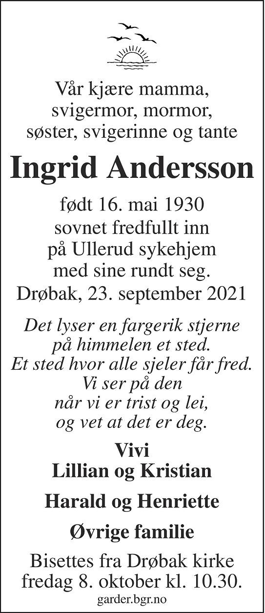 Ingrid Andersson Dødsannonse