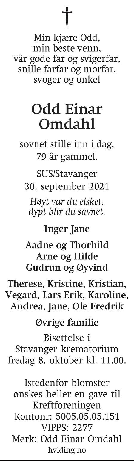 Odd Einar Omdahl Dødsannonse