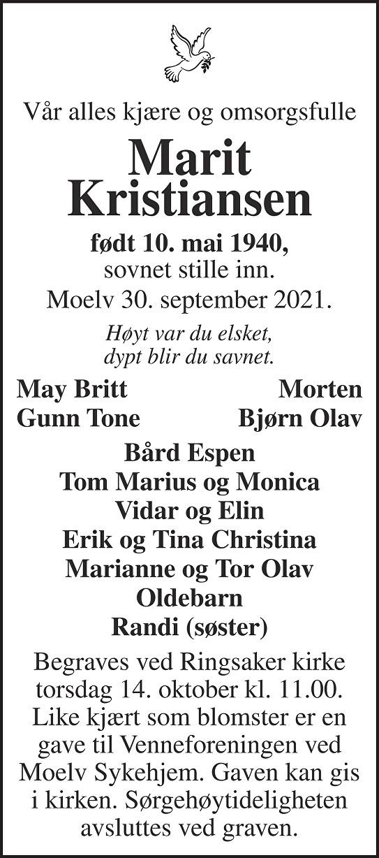 Marit  Kristiansen  Dødsannonse