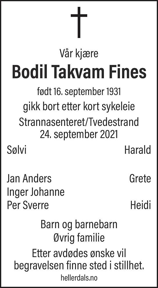 Bodil Takvam Fines Dødsannonse