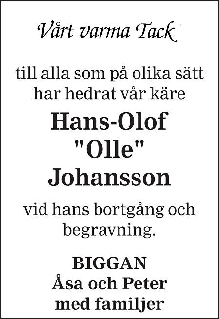 Hans-Olof Johansson Death notice