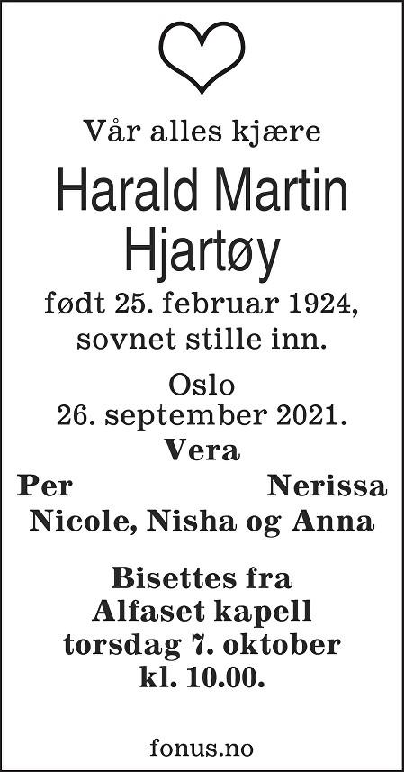 Harald Martin Hjartøy Dødsannonse