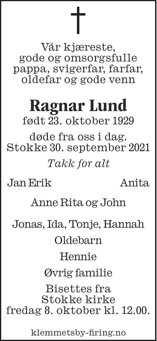Ragnar Torbjørn Lund Dødsannonse