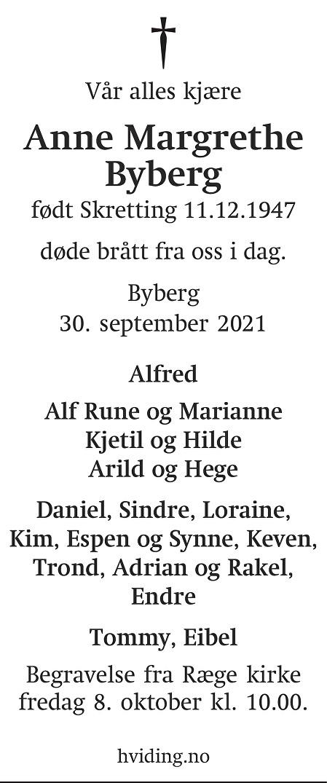 Anne Margrethe Byberg Dødsannonse