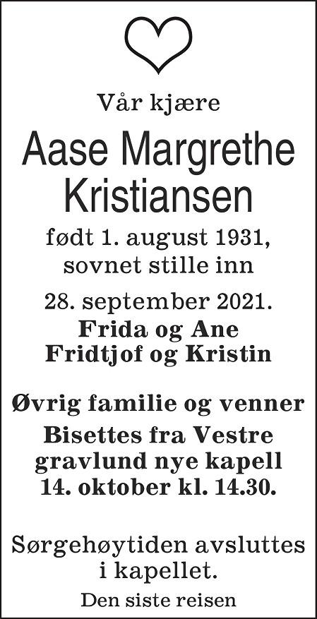 Aase Margrethe Kristiansen Dødsannonse