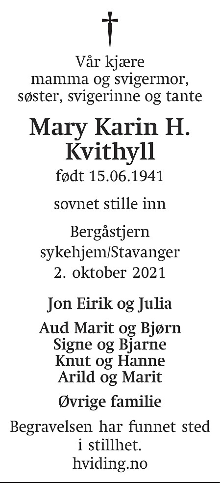 Mary Karin Haugneland Kvithyll Dødsannonse