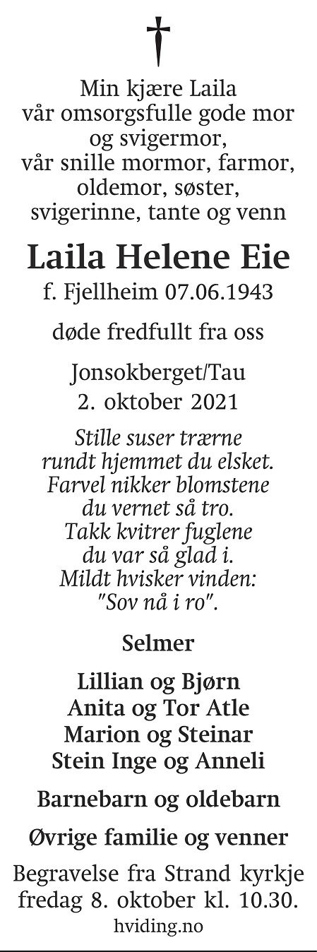 Laila Helene  Eie Dødsannonse