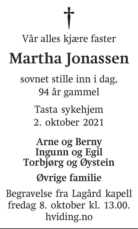 Martha Jonassen Dødsannonse