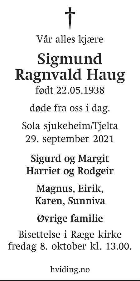 Sigmund Ragnvald Haug Dødsannonse