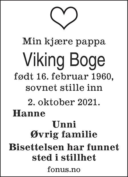 Viking Boge Dødsannonse