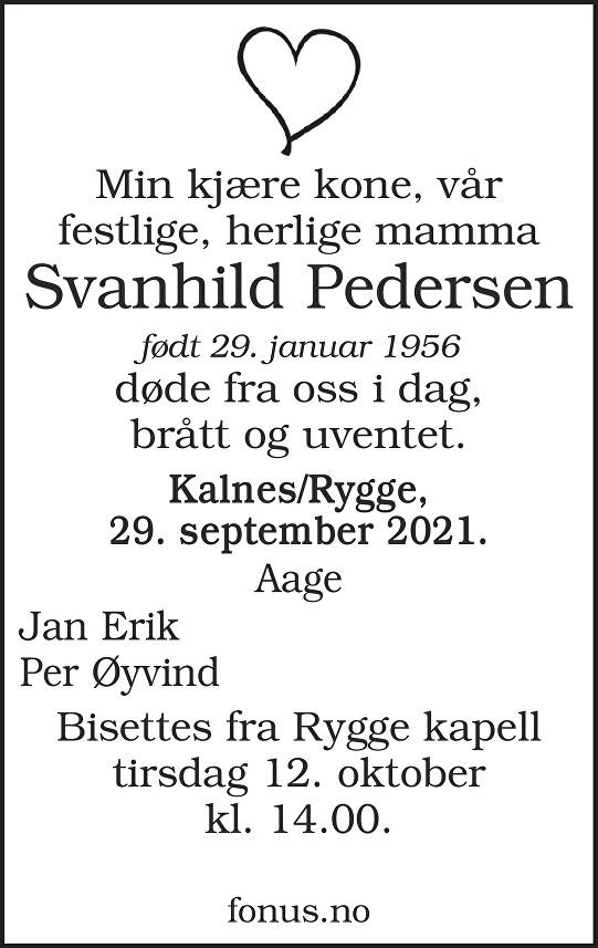 Svanhild Pedersen Dødsannonse