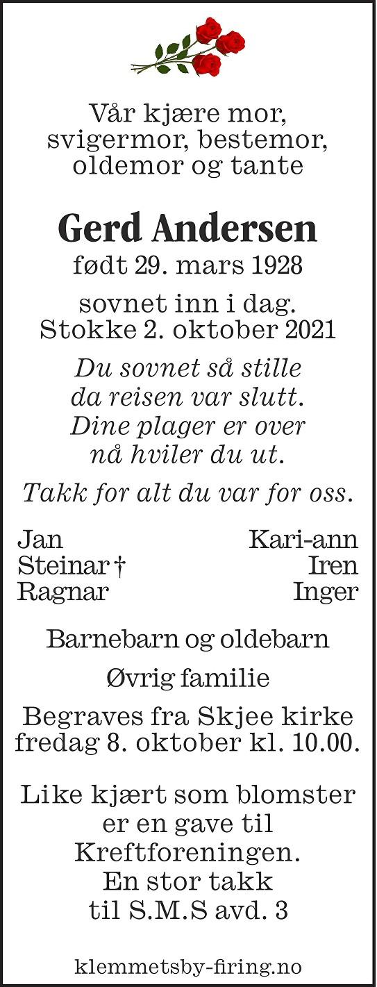 Gerd Andersen Dødsannonse