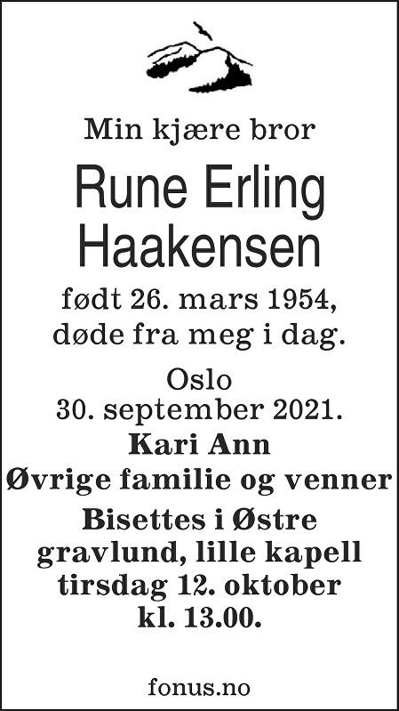 Rune Erling Haakensen Dødsannonse