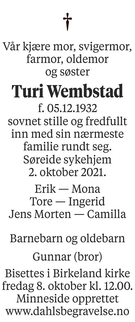 Turi Wembstad Dødsannonse