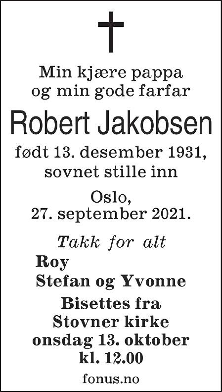 Robert Jakobsen Dødsannonse