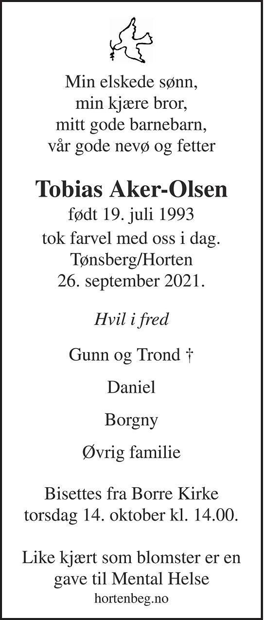 Arild Tobias Aker-Olsen Dødsannonse