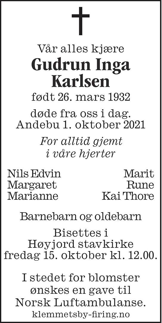 Gudrun Inga Karlsen Dødsannonse