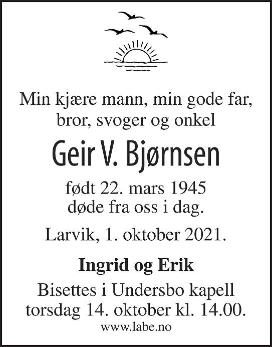 Geir Vidar Bjørnsen Dødsannonse