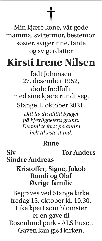 Kirsti Irene  Nilsen Dødsannonse